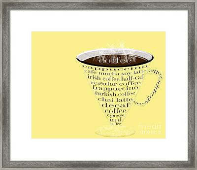 Coffee Cup The Jetsons Yellow Framed Print by Andee Design