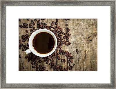 Coffee Cup With Beans Framed Print by Aged Pixel