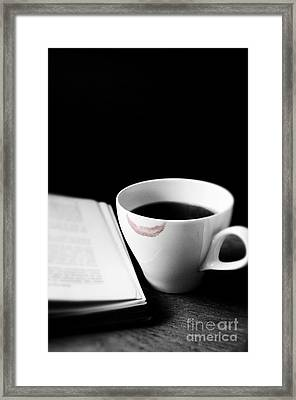 Coffee Cup With Lipstick Mark And Book Framed Print by Birgit Tyrrell