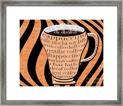 Coffee Cup With Stripes Typography Orange Framed Print by Andee Design