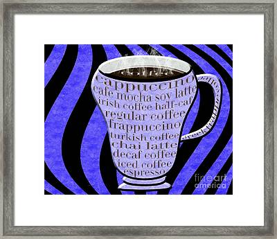 Coffee Cup With Stripes Typography Periwinkle Framed Print by Andee Design