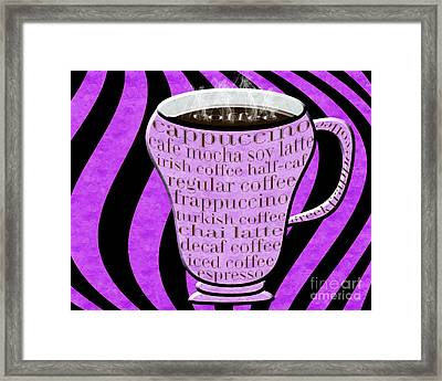 Coffee Cup With Stripes Typography Purple Framed Print by Andee Design