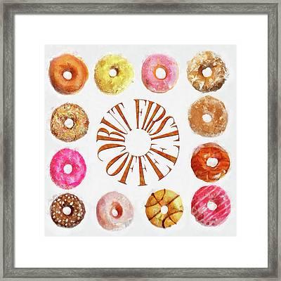 Coffee Donuts Framed Print