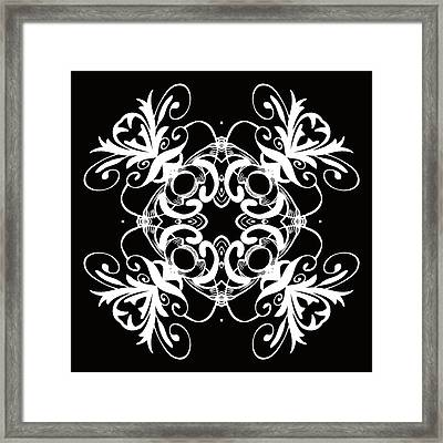 Coffee Flowers 1 Bw Ornate Medallion Framed Print by Angelina Vick