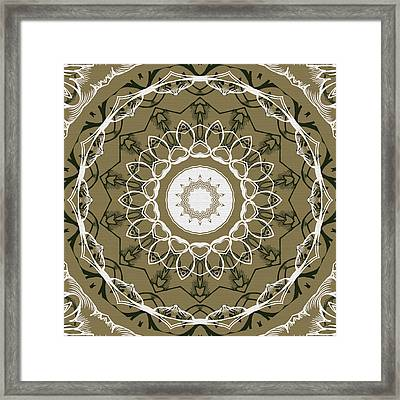 Coffee Flowers 1 Olive Ornate Medallion Framed Print by Angelina Vick