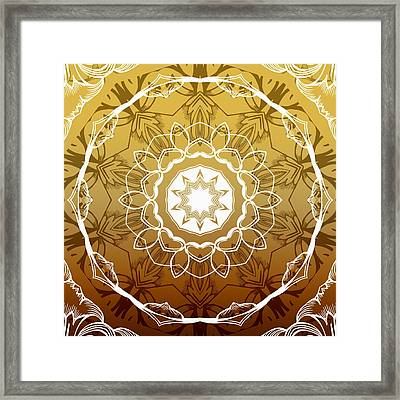 Coffee Flowers 1 Ornate Medallion Calypso Framed Print by Angelina Vick