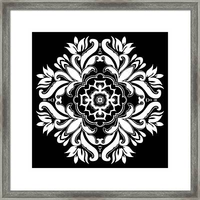 Coffee Flowers 10 Bw Ornate Medallion Framed Print by Angelina Vick