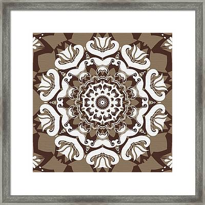 Coffee Flowers 10 Ornate Medallion Framed Print by Angelina Vick