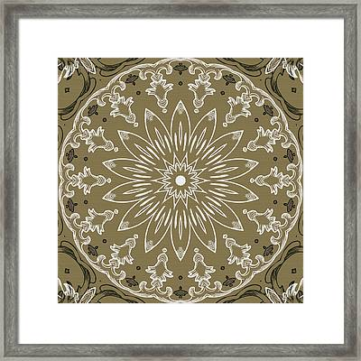 Coffee Flowers 11 Olive Ornate Medallion Framed Print by Angelina Vick