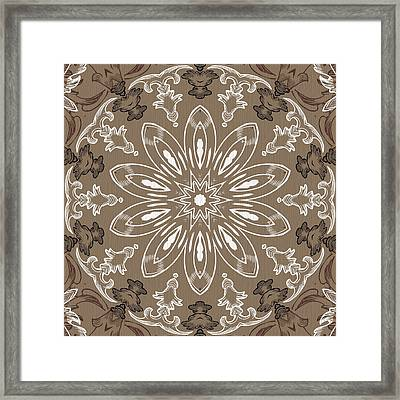 Coffee Flowers 11 Ornate Medallion Framed Print by Angelina Vick