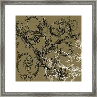 Coffee Flowers 3 Olive Framed Print