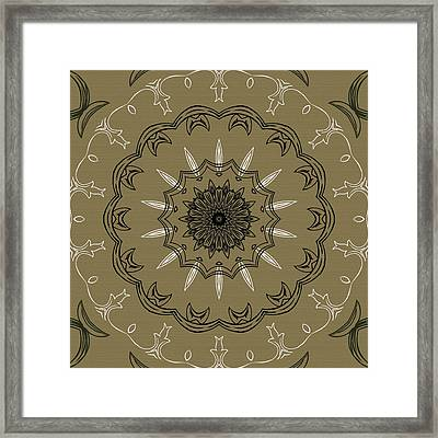 Coffee Flowers 3 Olive Ornate Medallion Framed Print by Angelina Vick