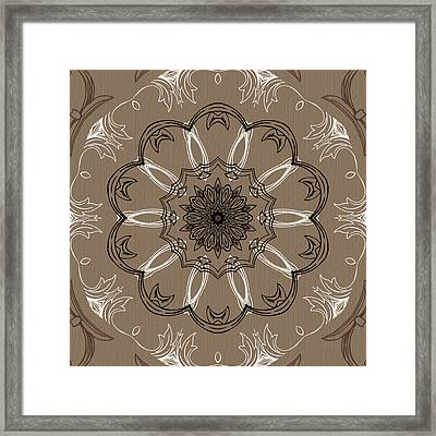 Coffee Flowers 3 Ornate Medallion Framed Print by Angelina Vick