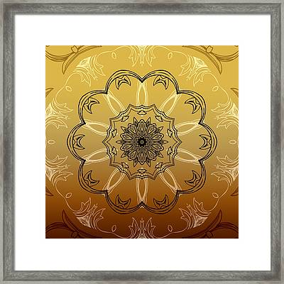 Coffee Flowers 3 Ornate Medallion Calypso Framed Print by Angelina Vick