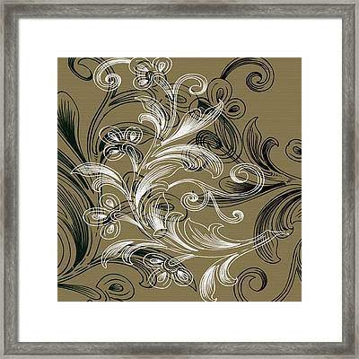 Coffee Flowers 4 Olive Framed Print