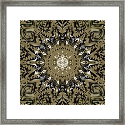 Coffee Flowers 4 Olive Ornate Medallion Framed Print by Angelina Vick