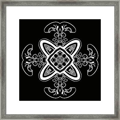 Coffee Flowers 5 Bw Ornate Medallion Framed Print by Angelina Vick
