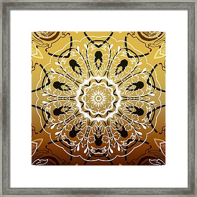 Coffee Flowers 5 Calypso Ornate Medallion Framed Print by Angelina Vick
