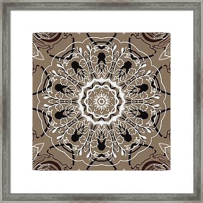 Coffee Flowers 5 Ornate Medallion Framed Print by Angelina Vick