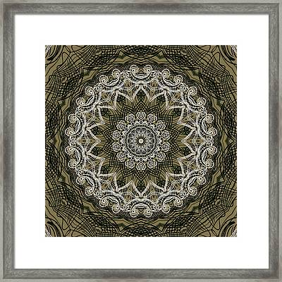 Coffee Flowers 6 Olive Ornate Medallion Framed Print by Angelina Vick
