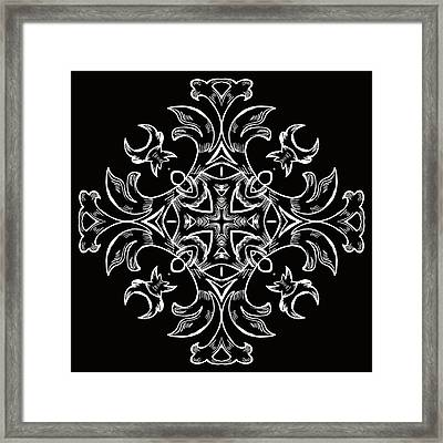 Coffee Flowers 7 Bw Ornate Medallion Framed Print by Angelina Vick
