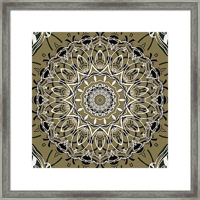 Coffee Flowers 7 Olive Ornate Medallion Framed Print by Angelina Vick