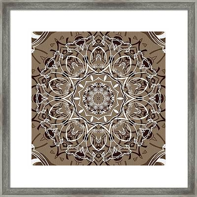Coffee Flowers 7 Ornate Medallion Framed Print by Angelina Vick