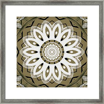 Coffee Flowers 8 Olive Ornate Medallion Framed Print by Angelina Vick