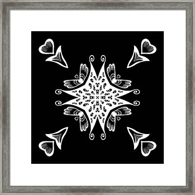 Coffee Flowers 9 Bw Ornate Medallion Framed Print by Angelina Vick