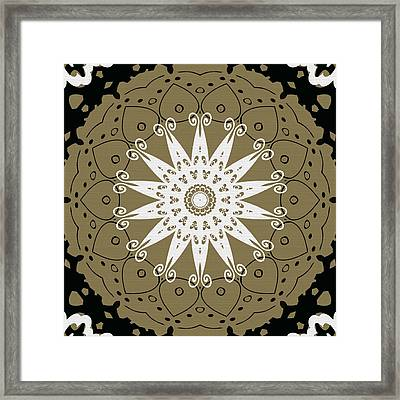 Coffee Flowers 9 Olive Ornate Medallion Framed Print by Angelina Vick