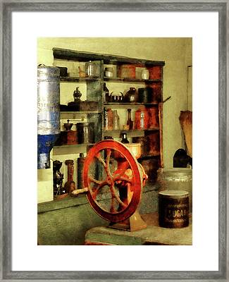 Coffee Grinder And Canister Of Sugar Framed Print by Susan Savad