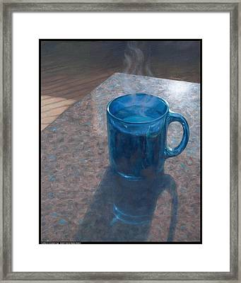 Coffee In A Cobalt Cup Framed Print