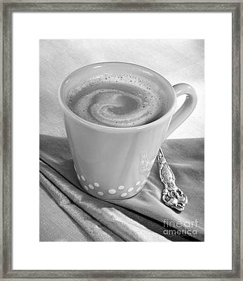 Coffee In Tall Yellow Cup Black And White Framed Print by Iris Richardson