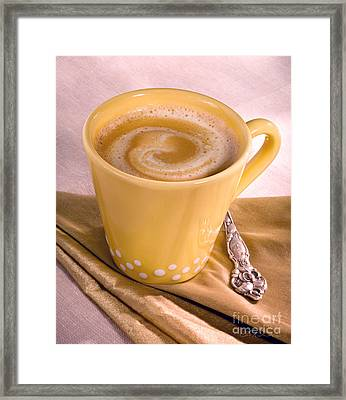 Coffee In Tall Yellow Cup Framed Print by Iris Richardson