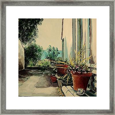 Coffee In The Street Framed Print by Anne Parker