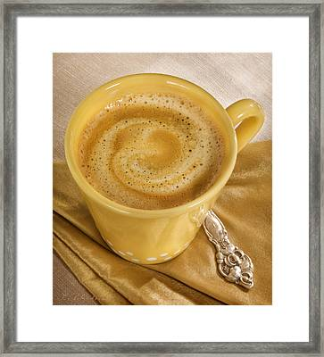 Coffee In Yellow Framed Print by Iris Richardson