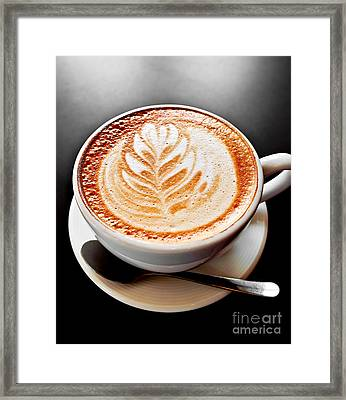 Coffee Latte With Foam Art Framed Print by Elena Elisseeva