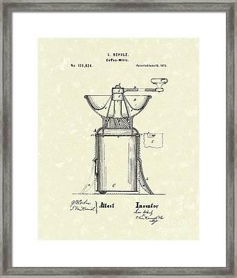 Coffee Mill 1873 Patent Art Framed Print