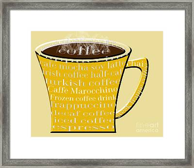 Coffee Mug Yellow Typography Framed Print by Andee Design
