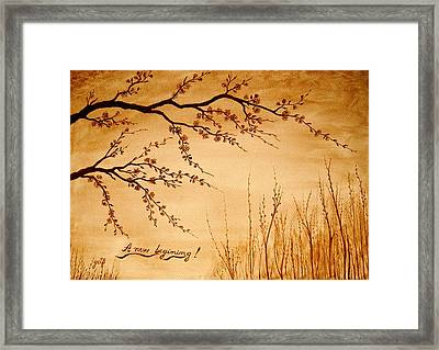 Coffee Painting Cherry Blossoms Framed Print by Georgeta  Blanaru