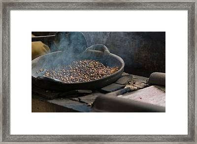 Framed Print featuring the photograph Coffee Roasting - Bali by Matthew Onheiber