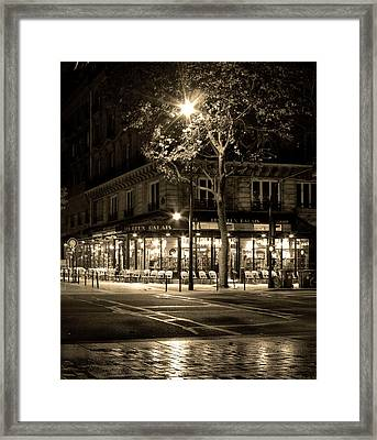 Coffee Shop In Paris Framed Print by Radoslav Nedelchev