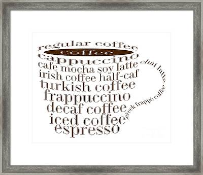 Coffee Shoppe Coffee Names Typography Framed Print by Andee Design
