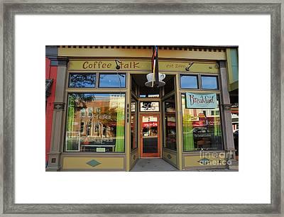 Coffee Talk In Clare Michigan Framed Print by Terri Gostola