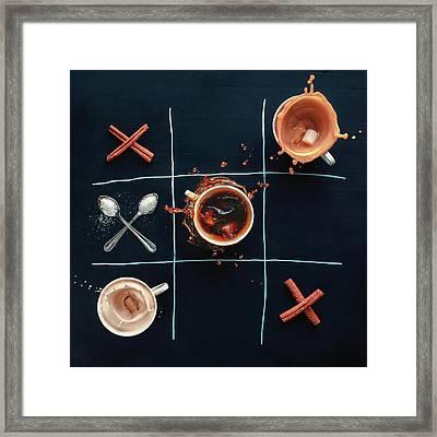 Coffee Tic-tac-toe Framed Print by Dina Belenko Photography