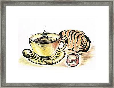 Coffee With Jam Qroissant Framed Print by Teresa White