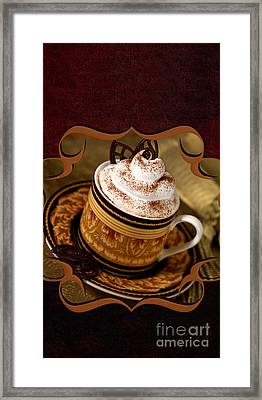 Coffee With Whipped Topping And Chocolates Framed Print