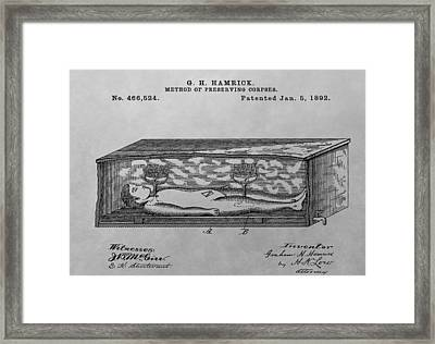 Coffin Patent Drawing Framed Print