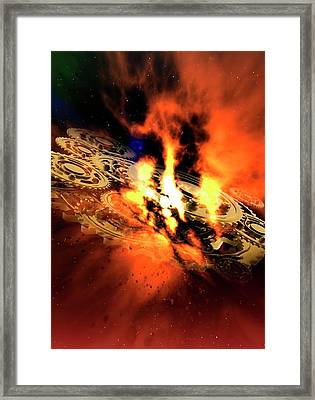 Cogs And Flames Framed Print by Victor Habbick Visions/science Photo Library