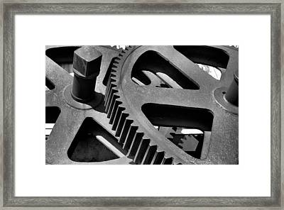 Framed Print featuring the photograph Cogwheels In Black And White by Nadalyn Larsen